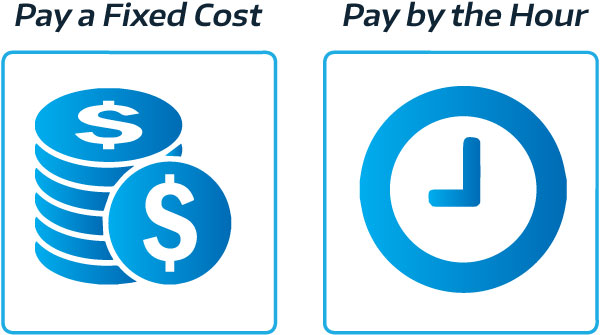 pay a fixed cost or pay by the hour